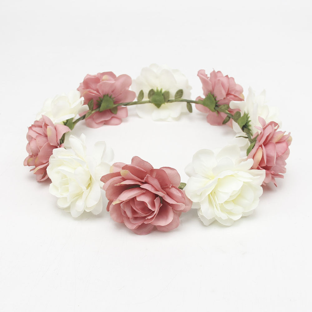 Women Wedding Boho Flower Hair Garland Crown Headband Floral Wreath Headpiece BP2910