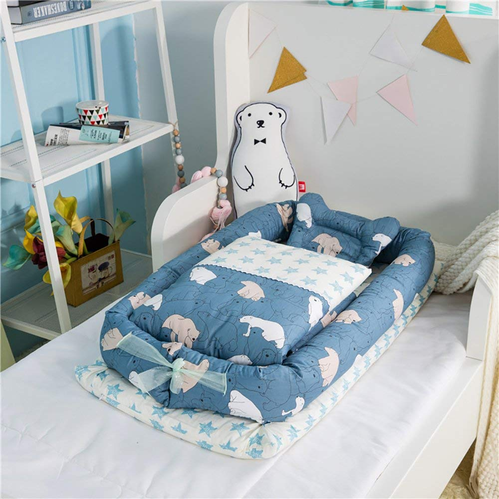 0-24 Months Baby Cot with Quilt Detachable Baby Isolated Bed Newborn Baby Sleeping Artifact Collapsible Bionic Bed with a Quilt