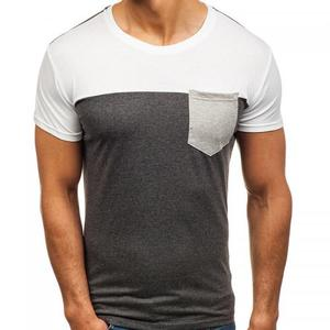 bulk wholesale contrast color cotton slim plus size men short sleeve t-shirt 237708