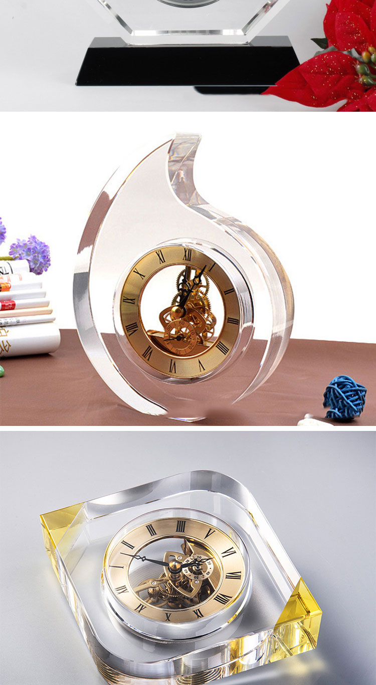 Wholesale Wedding Gifts Souvenirs Unique Design Clear Optic Crystal table Clock for Home Decor
