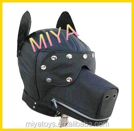 Pvc Leather Bondage Puppy hood /Fetish dog mask/blindfold/adult fun sex toys, sex toys