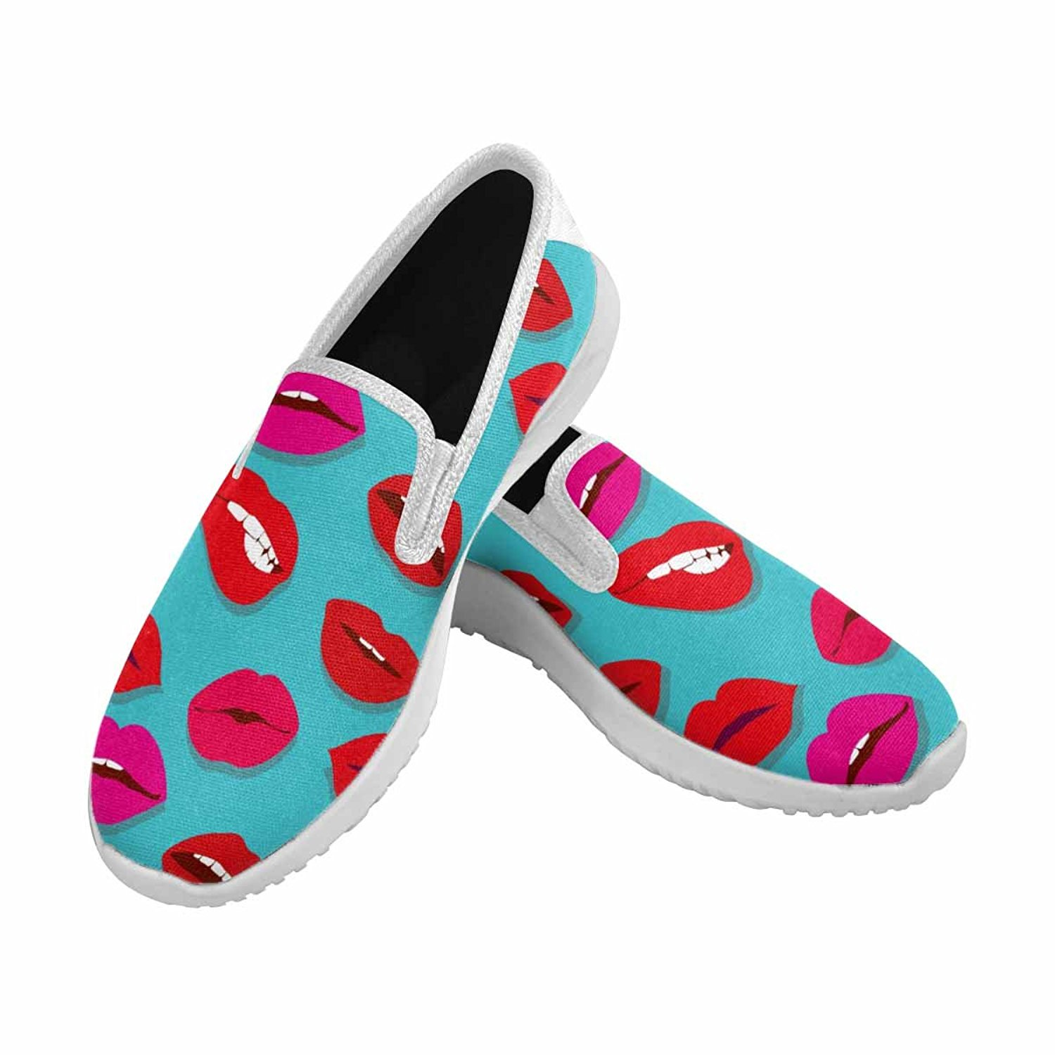 e02fc85cd07e0 InterestPrint Women's Slip-On Canvas Loafer Shoes Fashion Sneakers Makeup  and Cosmetics Pattern with Red Woman Lips, Flat Sexy Lips Fashion Background