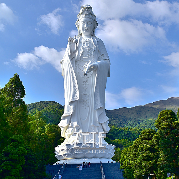Outdoor Standing Stone Guanyin Female Sculpture Marble Kwan Yin Buddha Statue