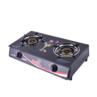 tempered glass double burner lpg gas stove