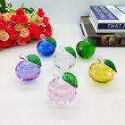 Hot sale Christmas gift colorful crystal apple for home decor