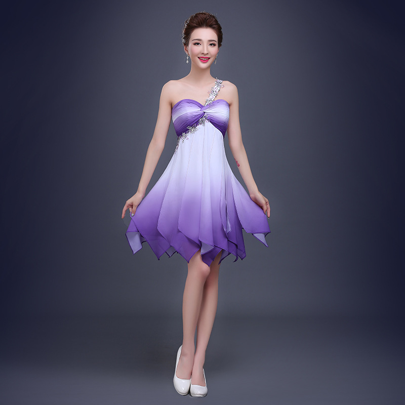 Purple Ombre Short Prom Dress with Beading One Strap ...