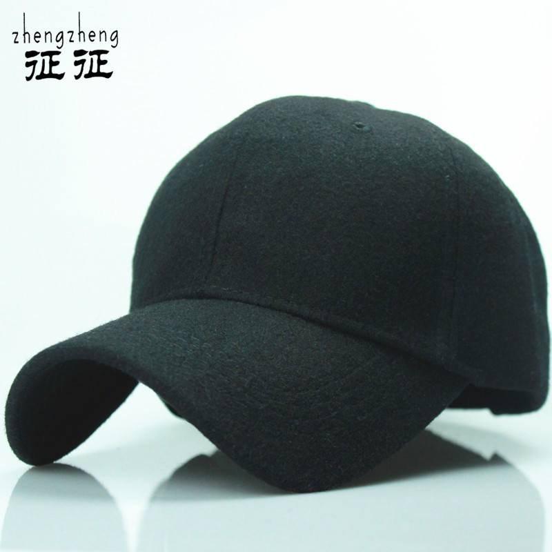 2015 new solid men s wool baseball cap winter cap warm bone snapback hat gorras fitted