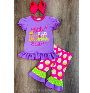 children clothing 2018 eggs print easter holiday kids wear boutique outfits