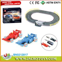 Couple Kids Slot Car Game Set Generating Electricity By Hand