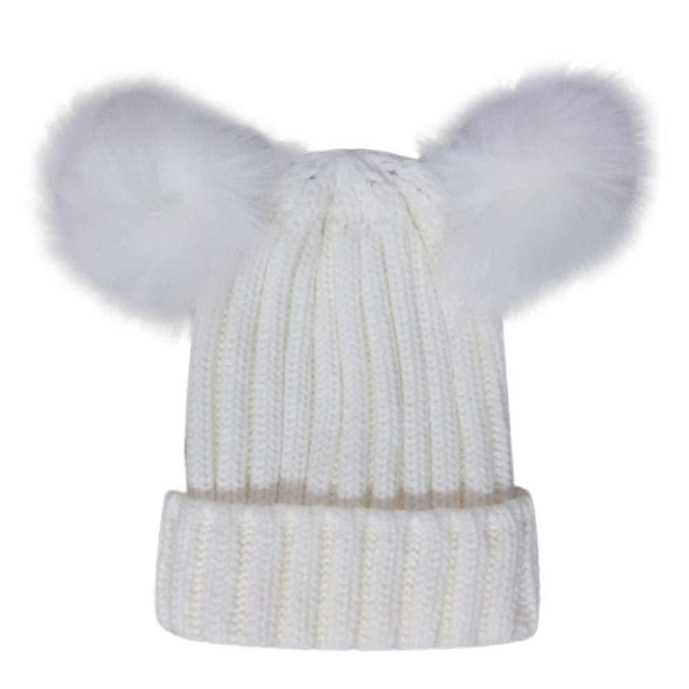 Inkach Baby Knit Hat Hairball, Kids Winter Warm Cap, Toddler Boy Girl Crochet Beanie Hats Skull Caps (White)
