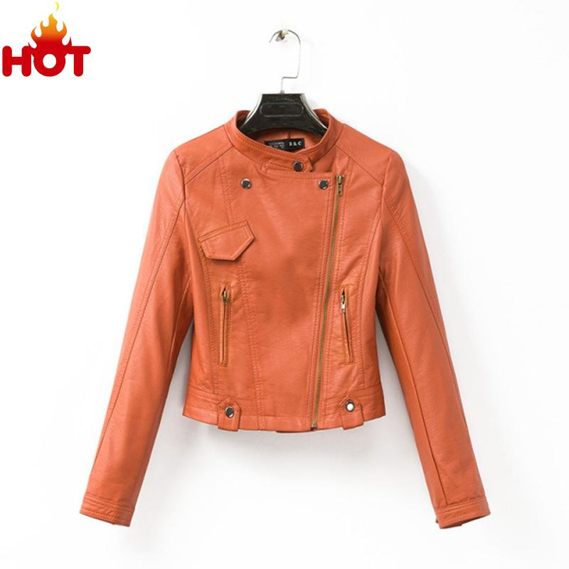 Punk Rock PU Leather Jacket Women Tops Faux Leather Autumn Coat Slim Orange Jackets Outwear Women Top 2015 Faux Leather Jacket