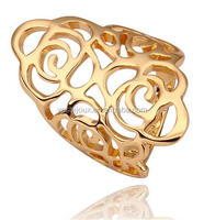 big hollow long gold plated finger ring