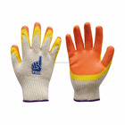 Low price Latex coated two color work gloves, cotton lined latex gloves