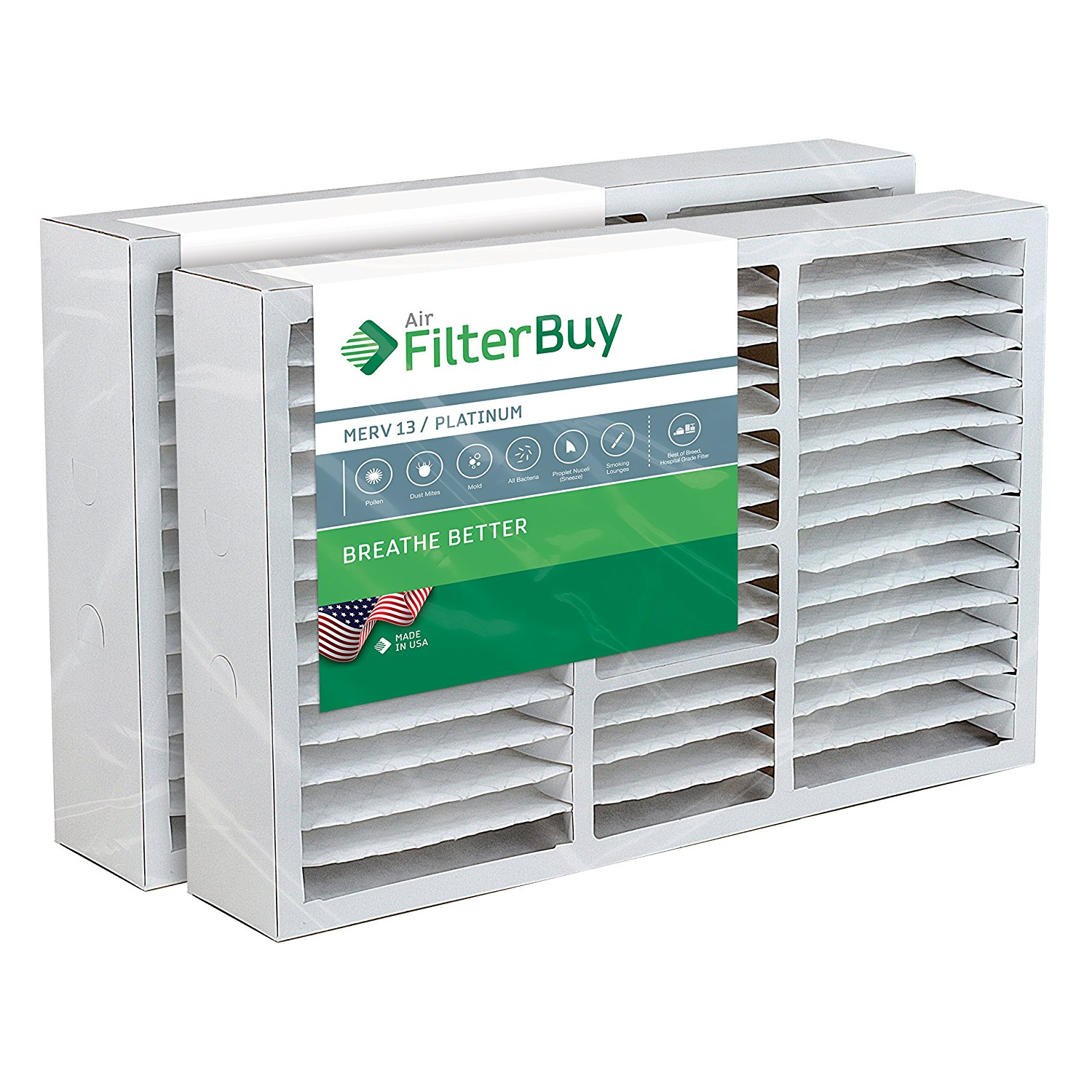 FilterBuy 16x25x5 Goodman Replacement AC Furnace Air Filters - AFB Platinum MERV 13 - Pack of 2 Filters. Designed to replace FS1625, M1-1056, MU1625, 9183950.