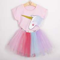 Hot Sale Unicorn Print Floral Shirt and Tulle Dress Princess Girls Dress Clothes