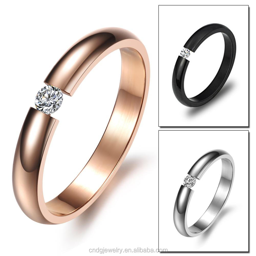 China Jewelry Stainless Steel One Stone Ring Designs 14k Gold ...