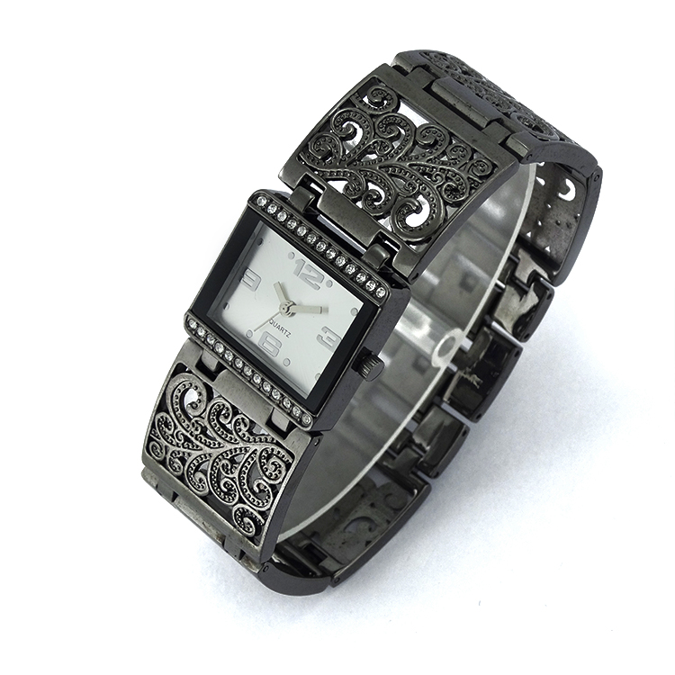 Stainless Steel Water resistant Mineral Galss Case Metal Skeleton Watch For Lady