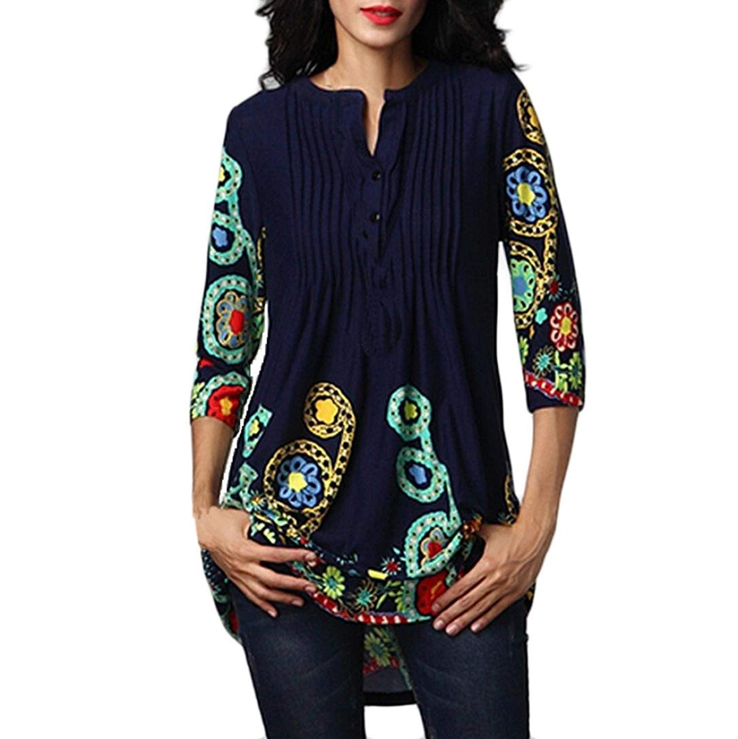 Hot Sale!Fashion 2018 Blouses Summer for Women, Three Quarter Sleeved O-Neck Printed Tops Loose Plus Size T-Shirt for Girls