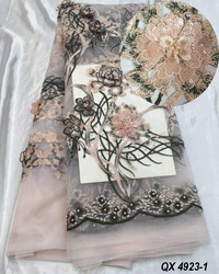 100% silk chiffon embroidered fabric with digital print floral from china factory