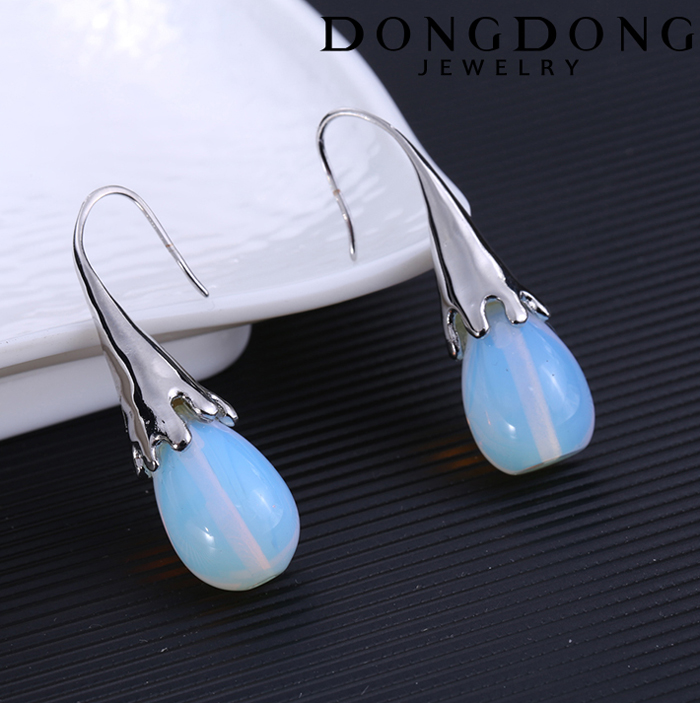 DD-EH091 3D long transparent ball silver plated earrings