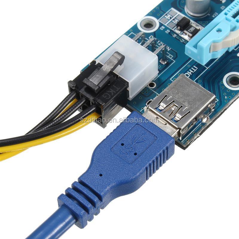 U34 Ver006c Pci 1x To 16x Mini Pci-e Usb 3.0 4pin / 6pin Molex Pci ...