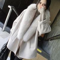 2016 autumn women coat new Korean cashmere coat jackets women loose large size simulation fur collar cocoon coat W2