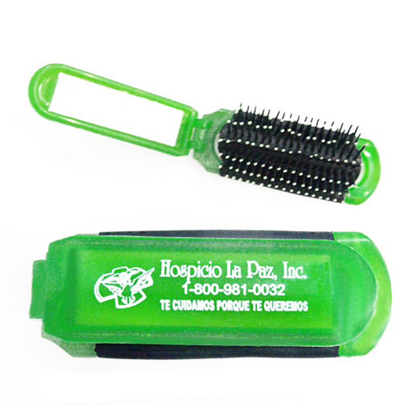 Promo 2 in 1 Transparent plastic folding comb with mirror