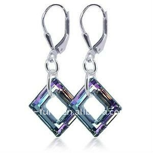 Square Vitrial Light Genuine Crystals Sterling Silver Leverback 1.5 Dangle Earrings