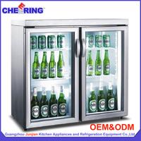 Professional refrigeration manufacturer upright two door mini friede , drink refrigerator , beer cooler
