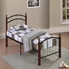Fashion Twin size one layer metal bed frame with wooden post