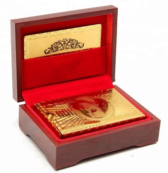 24K Gold Plated Poker Game 54 Playing Cards + Wooden Box For Party Casino Gift