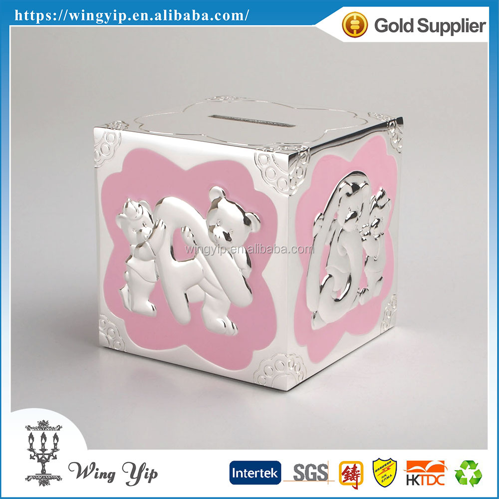 Custom made hot sales Square Shape Colorful Metal Money Saving Box for Ornament