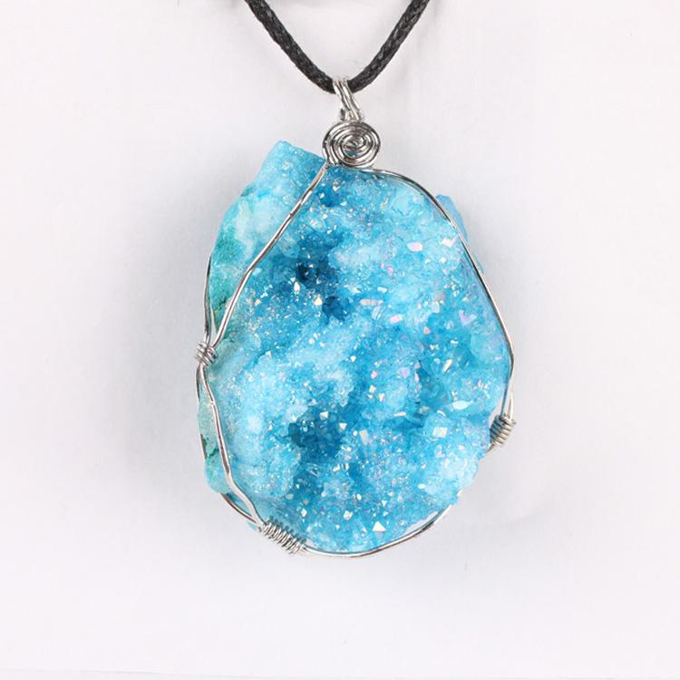 Cristal Transparent Quartz Agate Druzy Plaqué Argent Collier Pendentif Gemstone Jewelry