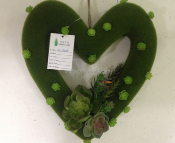 Heart Shaped Artificial Succulent Plant For Wall Hanging Decoration