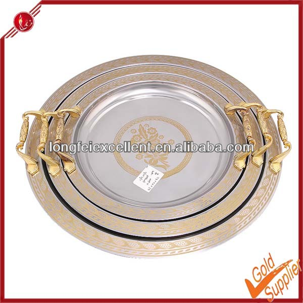 2014 Hot sale high quality 3pcs round stainless steel food serving tray wedding charger plates
