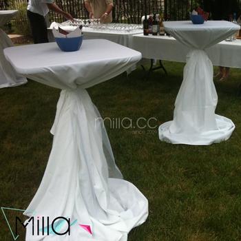 108u0027u0027 120u0027u0027 Round Highboy Cocktail Tables White Linens Wedding Tablecloths