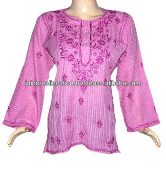 Indian Boho Hand Designer cotton handloom Embroidered Chikan Blouse Shirt Kurta Top Tunic