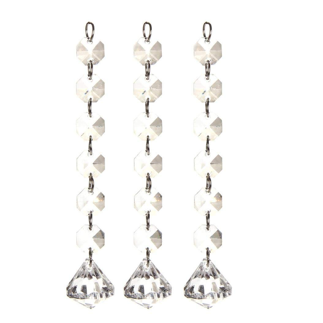 Dacawin(TM 10 Pieces Wedding Acrylic Crystal Beads Drops Pendant Chandelier Garland Hanging Curtain Interior Decor (D)