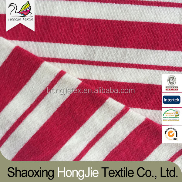 Cotton+Spandex 30S+20D Striped Yarn Dyed Single Jersey Knitted Fabric For Sportswear