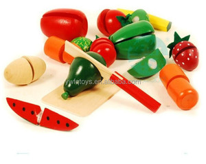 FQ brand green paint wood pretend toys kids wholesale pretend play fruit toys cutting fruits