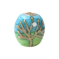 Wholesale Blue Sky & Tree Paint Murano Glass Bead with 925 Sterling Silver Tube