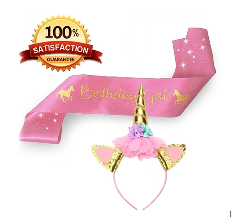 Greeting Cards & Party Supply Home & Garden Lovely Birthday Girl Unicorn Sash and Unicorn Flower Heaband for Kids Girls
