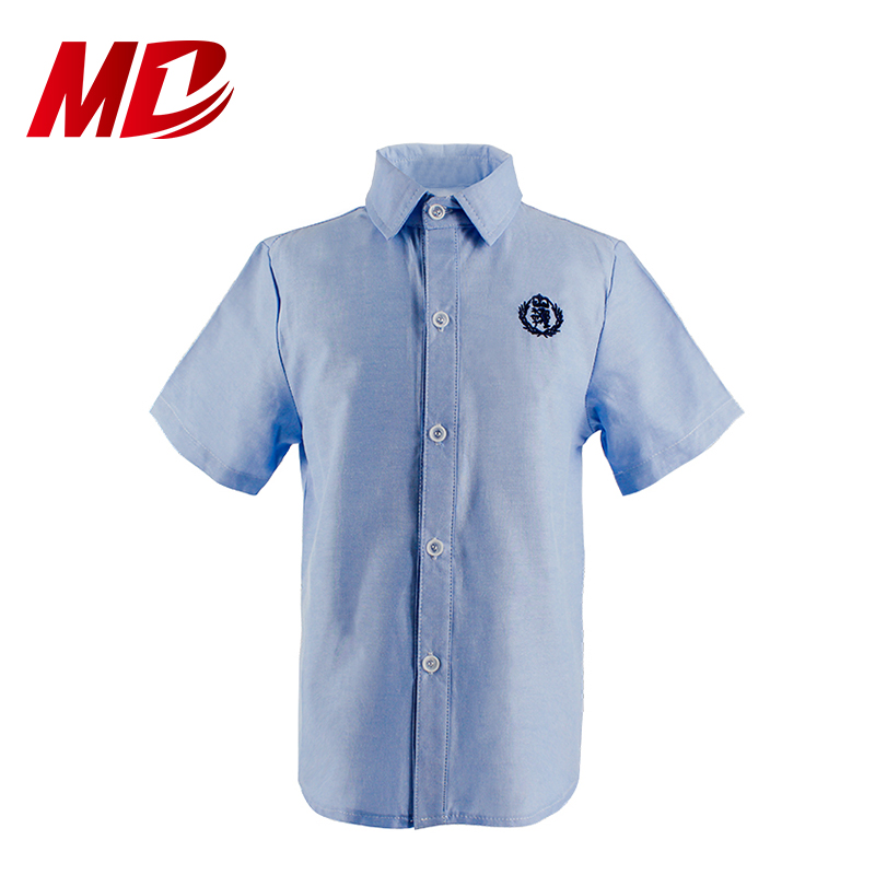 Customized Blue Short Sleeve Shirt with Logo