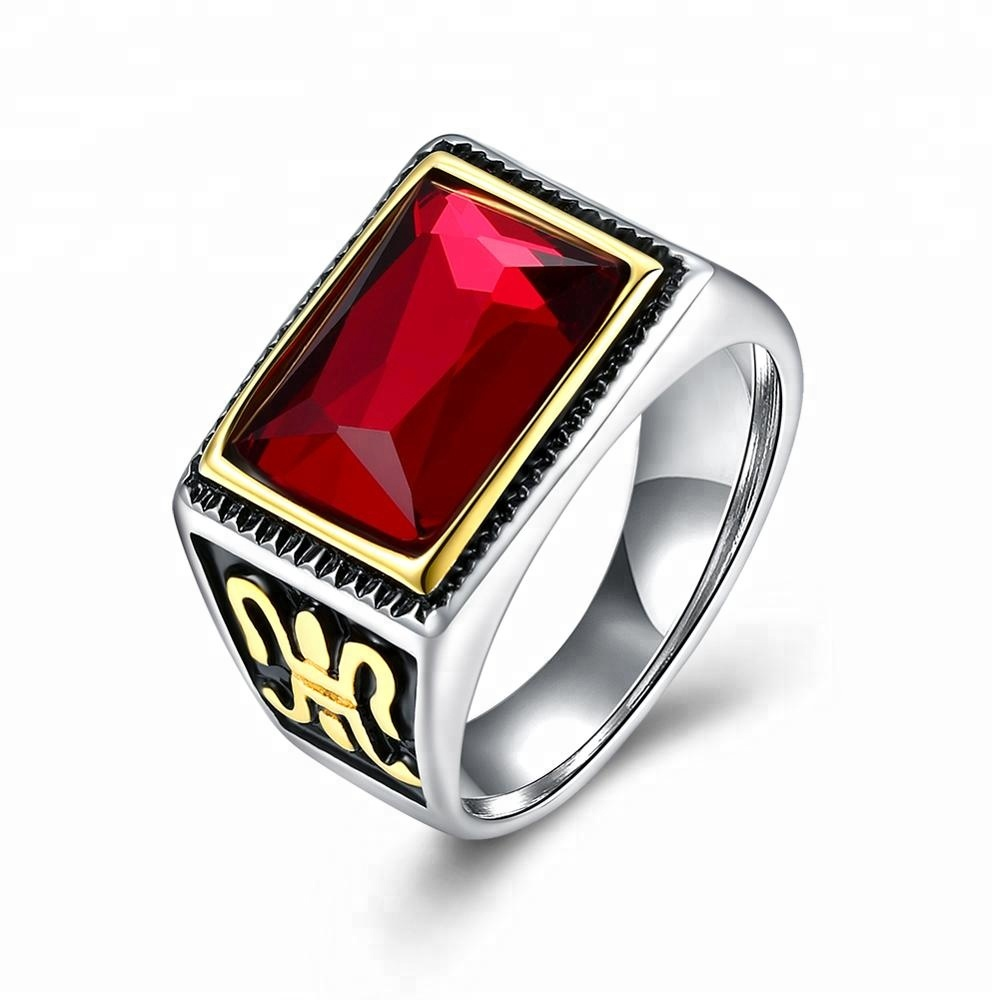 wholesale engravable jewelry black diamond /red stone ZC ring