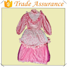 Diseño de cuello alto de encaje de color rosa medieval europea palacio princesa dress