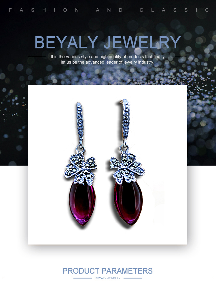 product-BEYALY-925 Silver Red Druzy Ladies Earrings Designs Pictures-img