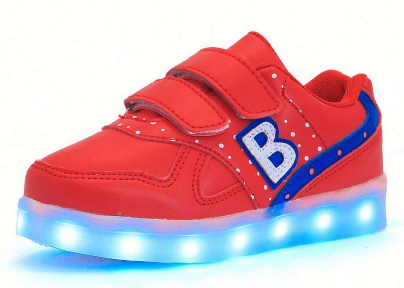 2016 Best seller USB charging battery operated LED fashing with letter shoes for children