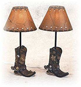 14.5 Inch Brown Cowboy Boots Shaped Lamp Stencil Shade Set of 2