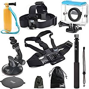 EEEKit 6-in-1 Starter Kit for Xiaomi Yi Sports Cam Action Camera, Waterproof Case + Head Strap Mount + Chest Mount Harness + Selfie Stick Pole Mount + Car Suction Cup Mount + Floating Handle Grip + EEEKit Pouch