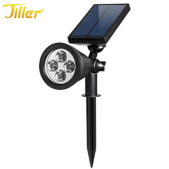 270 degree angle 4LED solar outdoor IP44 waterproof solar powered outdoor spotlight for garden
